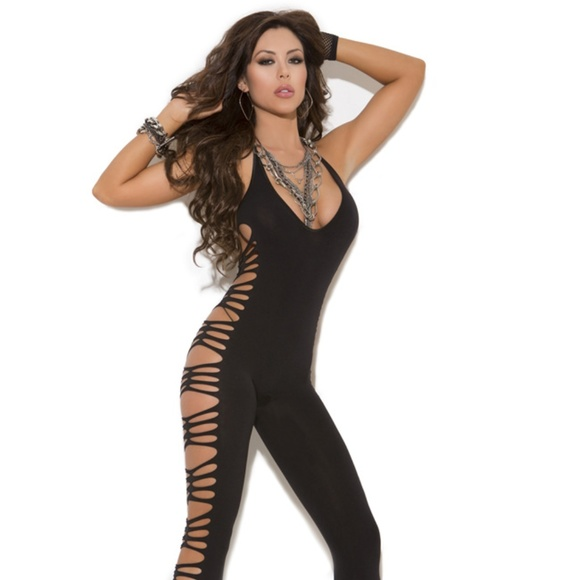 f2a77cc251 Deep V Opaque Bodystocking. Boutique. Elegant Moments